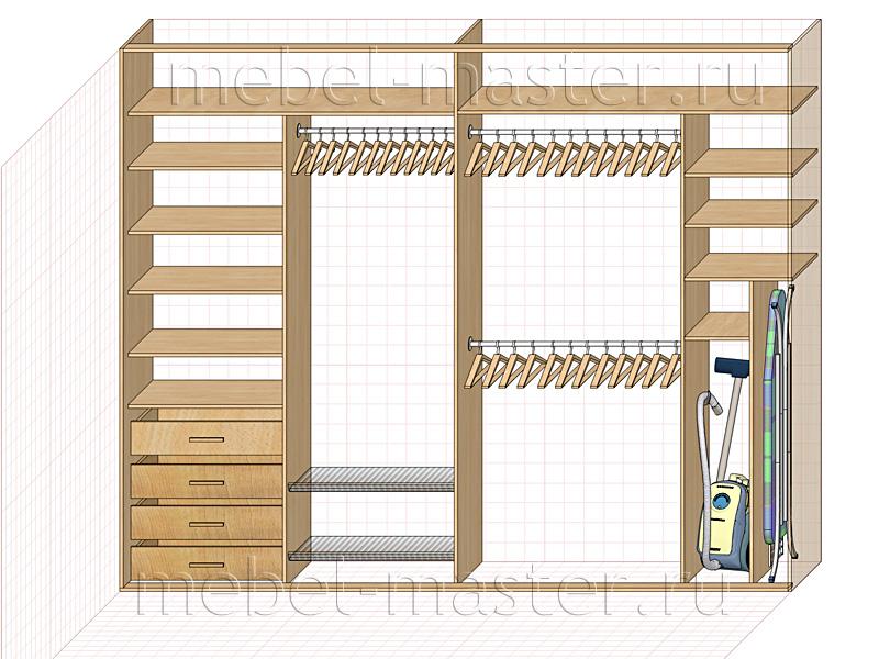 Конструкция четырехдверного шкафа-купе с отделением для пыле.